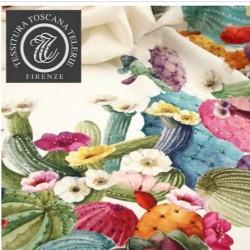 tovaglia in puro lino decoro cactus della tessitura toscana cm 230 x 170