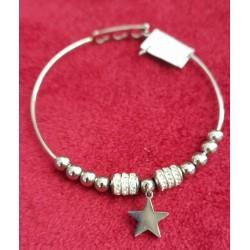 bracciale  in acciaio con charms e stella
